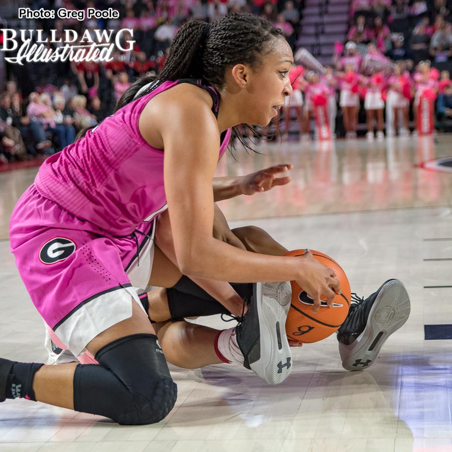 Haley Clark fights for a loose ball – Georgia vs. South Carolina – February 15, 2018