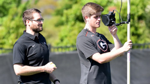 Jake Stroot during the Bulldogs' practice on the Woodruff Practice Fields in Athens, Ga., on Tuesday, April 17, 2018. (Photo by Steven Colquitt)