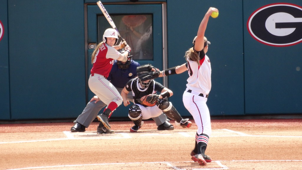 Chelsea Wilkinson pitches against Alabama Photo: Greg Poole/Bulldawg Illustrated