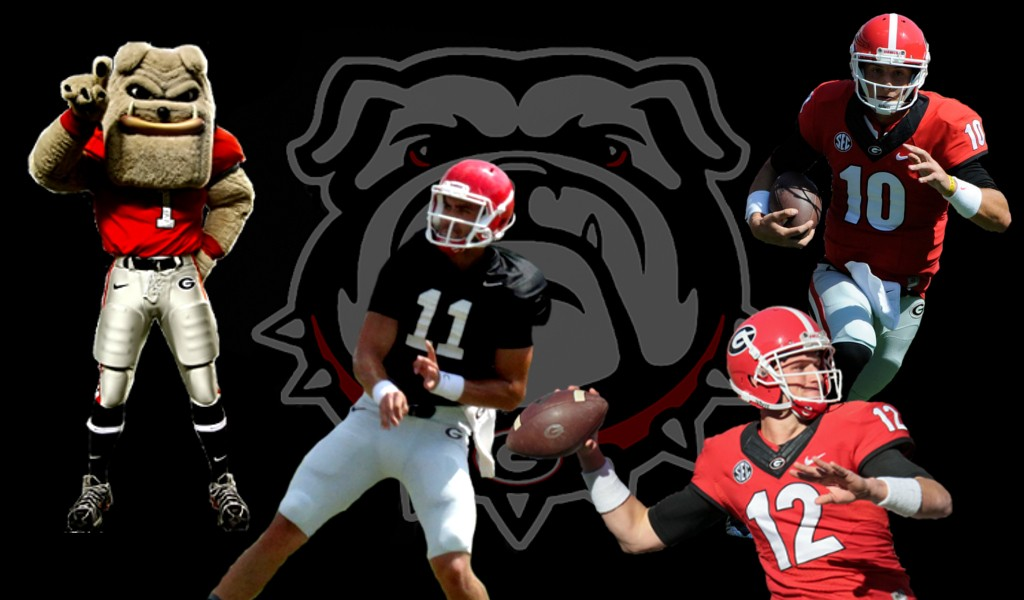 From left to right: Hairy Dawg, No.11 Greyson Lambert, No.12 Brice Ramsey, No.10 Faton Bauta. Photos courtesy of UGA. Edit by Bob Miller.