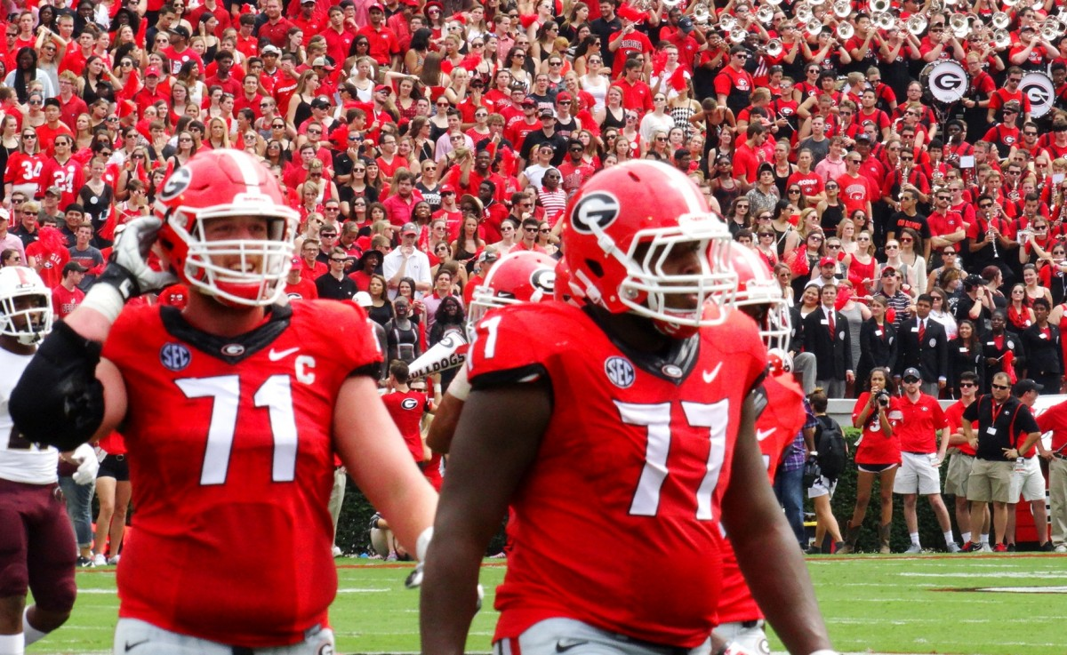 No. 71 John Theus and No. 77 Isaiah Wynn, ULM vs. UGA, September 5, 2015, Photo by Greg Poole / Bulldawg Illustrated.