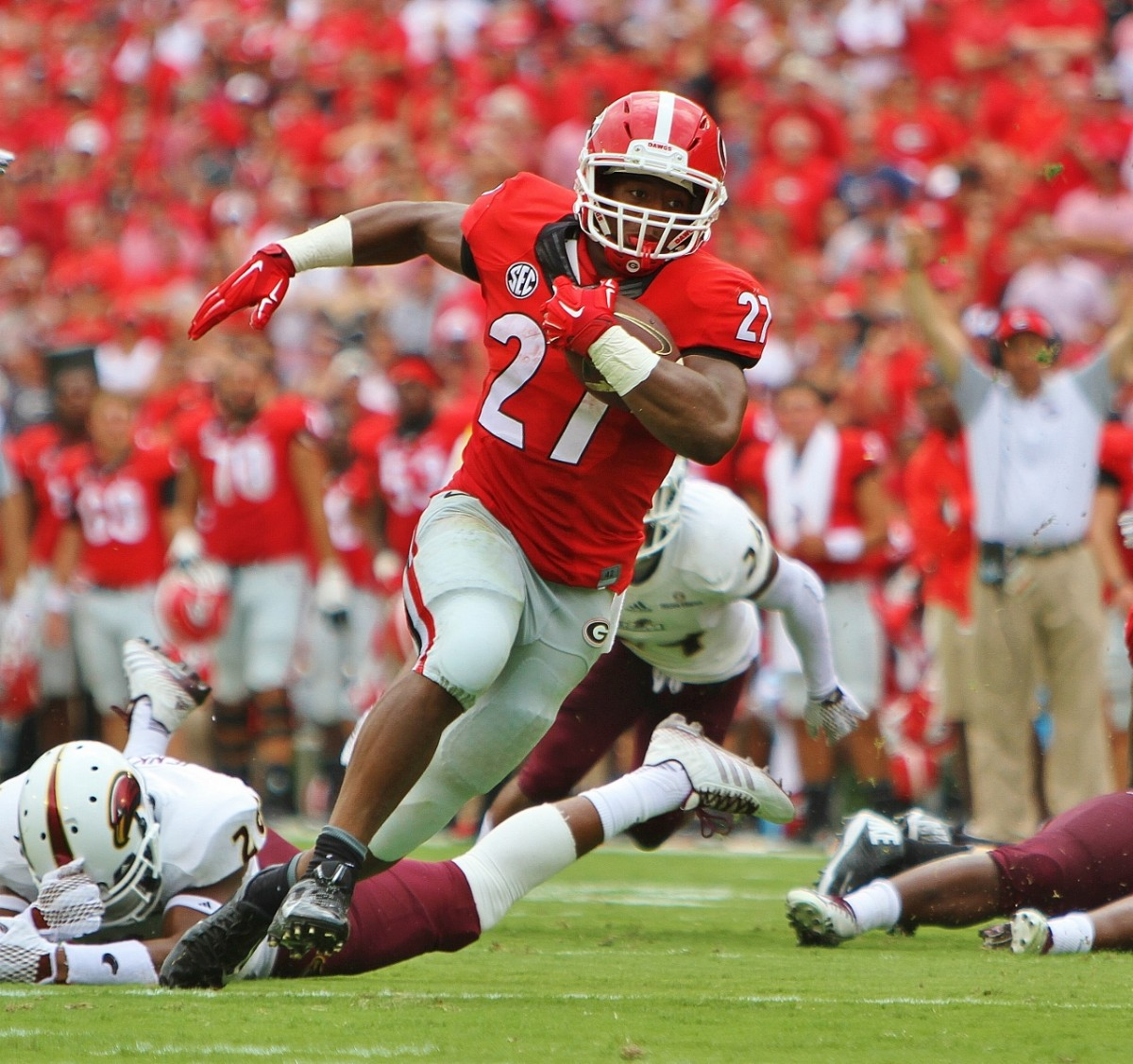 Nick Chubb TD - 2nd QTR - ULM vs. UGA - Sept. 5, 2015. Photo by Roy Saye.