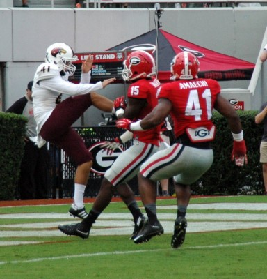 UGA special teams with pressure on ULM punter, September 5, 2015 (Photo by Greg Poole / Bulldawg Illutrated)