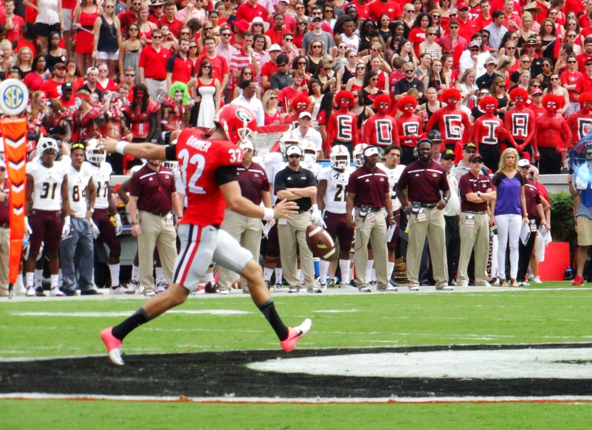 Collin Barber - ULM vs. UGA - Sept. 5, 2015. Photo by Greg Poole / Bulldawg Illustrated