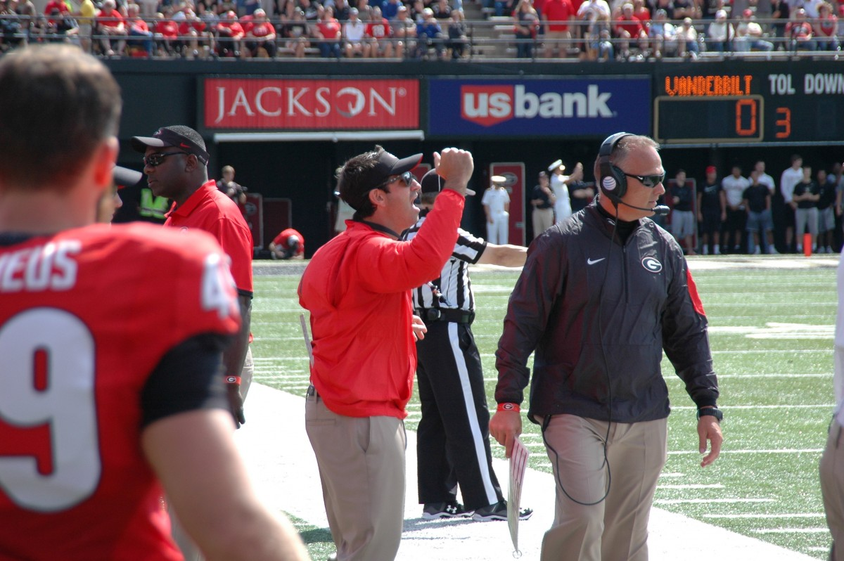 Coach Mark Richt during first half UGA vs Vandy 09-12-2015