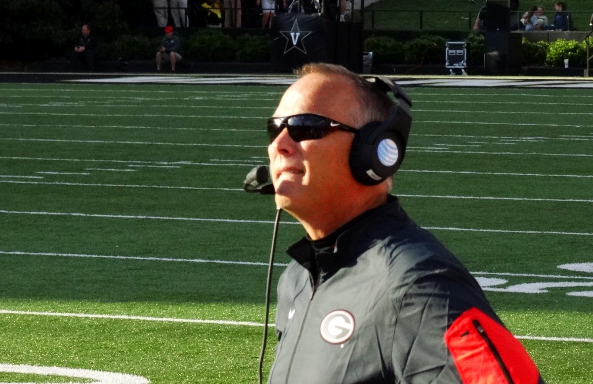 Coach Mark Richt - second half of UGA vs. Vandy 09-12-2015. (Photo by Greg Poole / Bulldawg Illustrated)