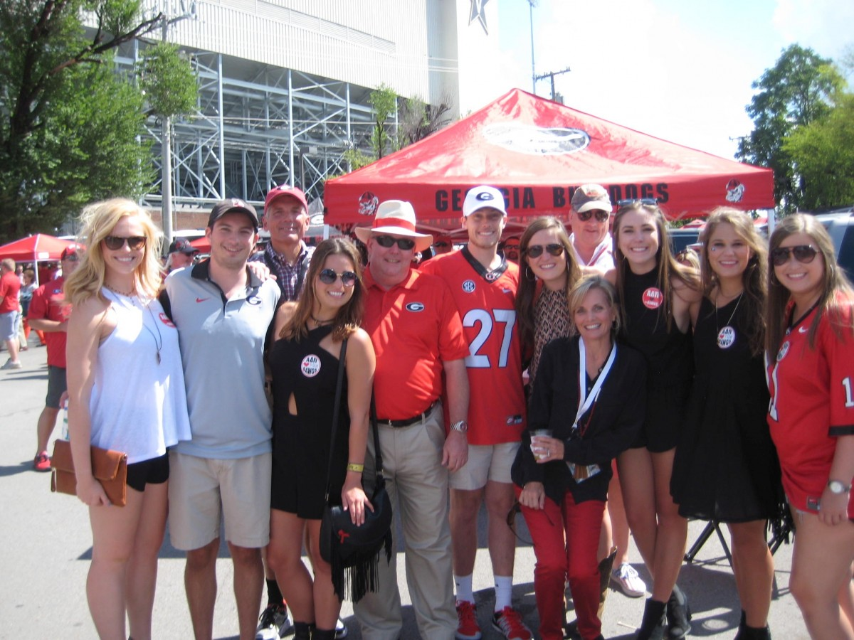 Lindsey Brock, Kyle Chamberland, Caroline Scruggs, Trey Paris, Mitch Clarke, Aubrey Wheeler, Molly Day, Paul Miner, Sandra Paris, Bayley Bennett, Annie Kate Snyder and  Caroline Weidhaas. UGA vs. Vanderbilt 09-12-2015 (Photo by Cheri and Vance Leavy / Bulldawg Illustrated)