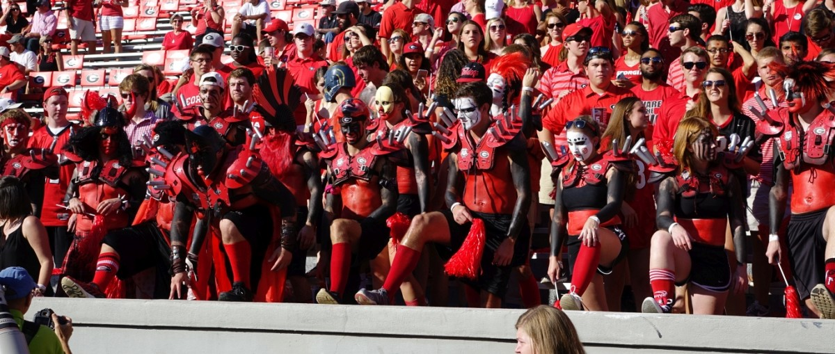 Spike squad gets ready to cheer the Dawgs During first half of South Carolina vs. Georgia, September 19, 2015 Photo: Greg Poole/Bulldawg Illustrated