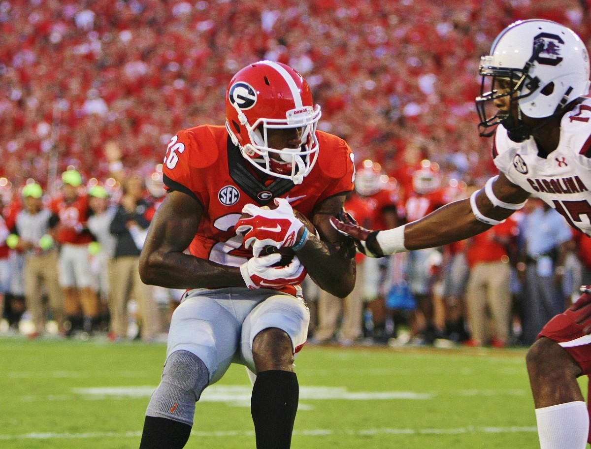 Malcolm Mitchell 5 yard TD catch versus South Carolina in the 2nd quarter (Photo by Rob Saye / Bulldawg llustrated)