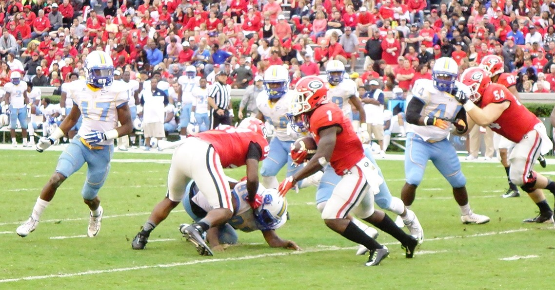 Sony Michel with a lane 2nd half of SouthernU game 09-26-2015 (Photo by Greg Poole / Bulldawg Illustrated)