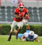 Nick Chubb leaves the defender behind - Dawgs 48 Southern 6 - 9-26-15 - Rob Saye Copyright (1213x1280)