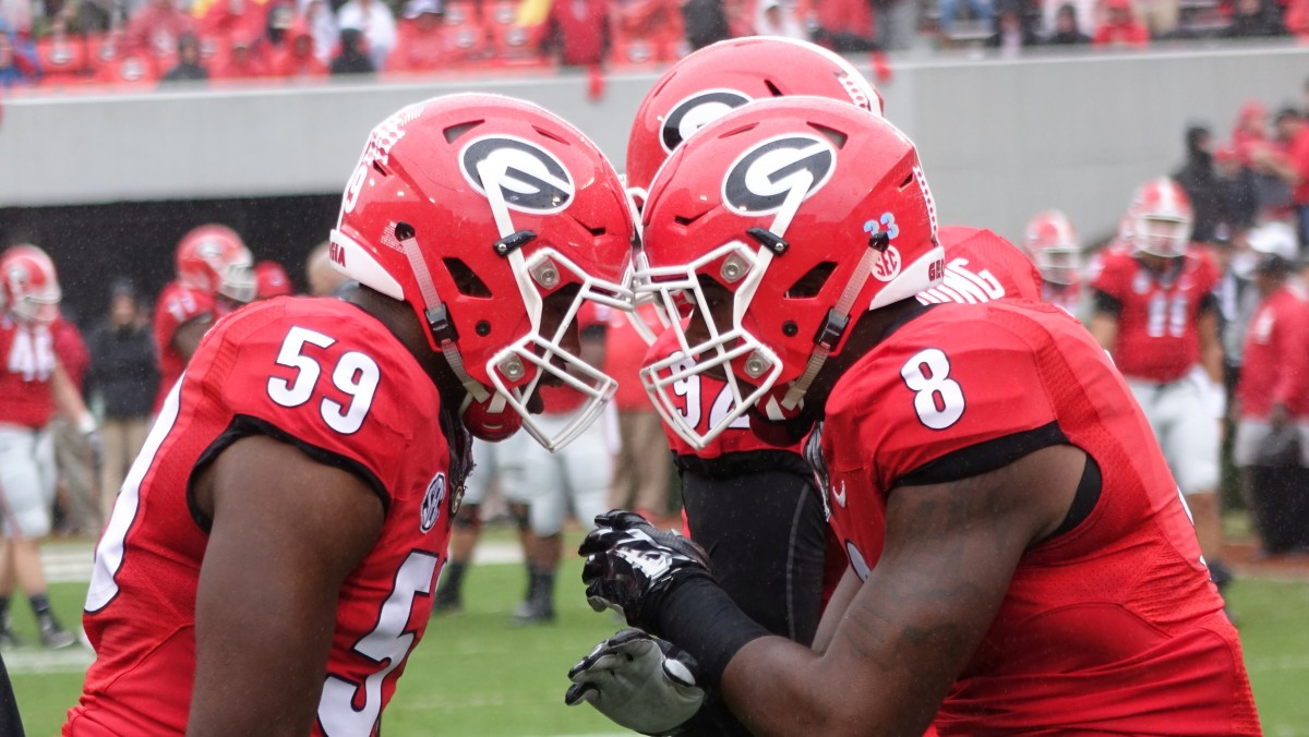 No59 Jordan Jenkins and No8 Shaun McGee get ready for first half of  Alabama vs. Georgia 10-03-2015 (Photo by Greg Poole / Bulldawg Illustrated)