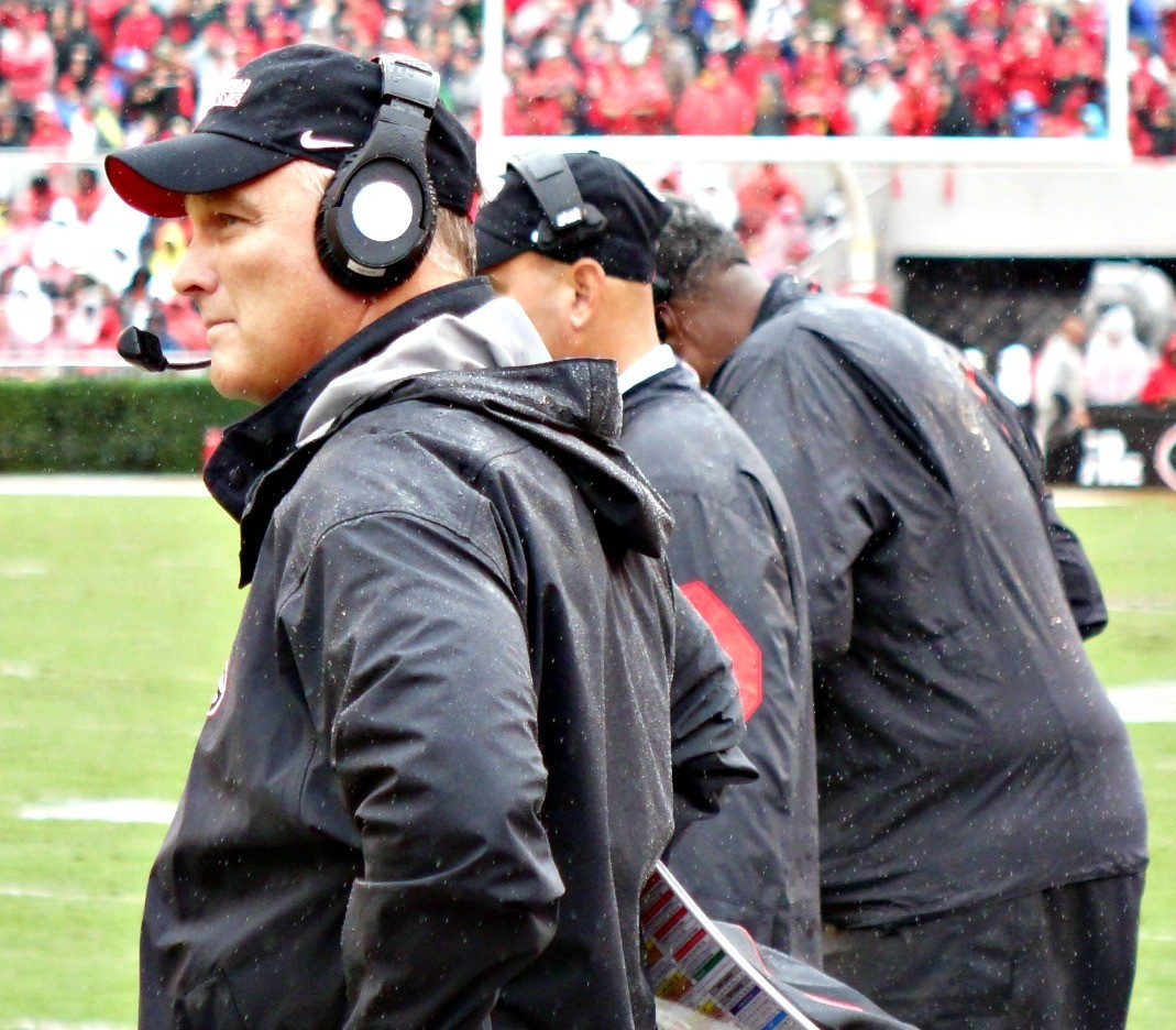 Mark Richt, Jeremy Pruitt and Tracey Rocker