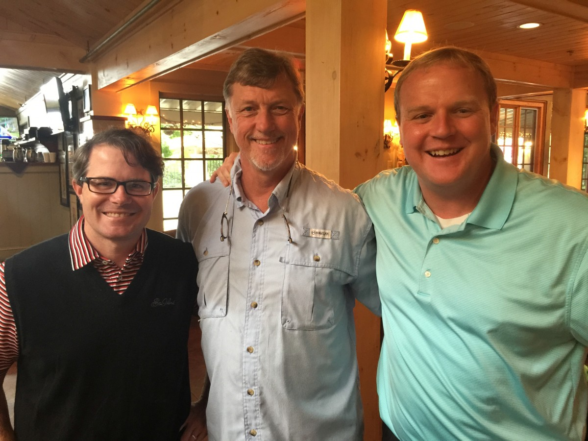 Vance Leavy, Mike Griffith and Jeff Dantzler at Hilltop's Bulldog Brunch