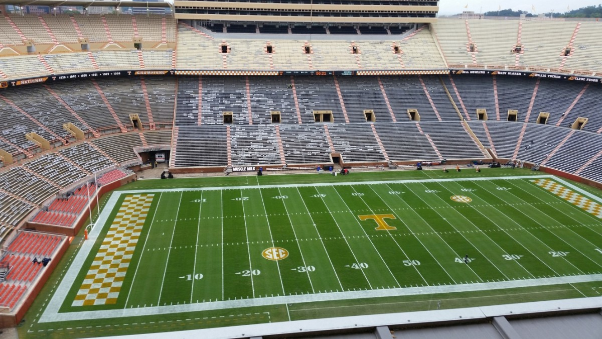 View from the press box at Neyland Stadium, Knoxville, TN (Photo by Murray Poole)