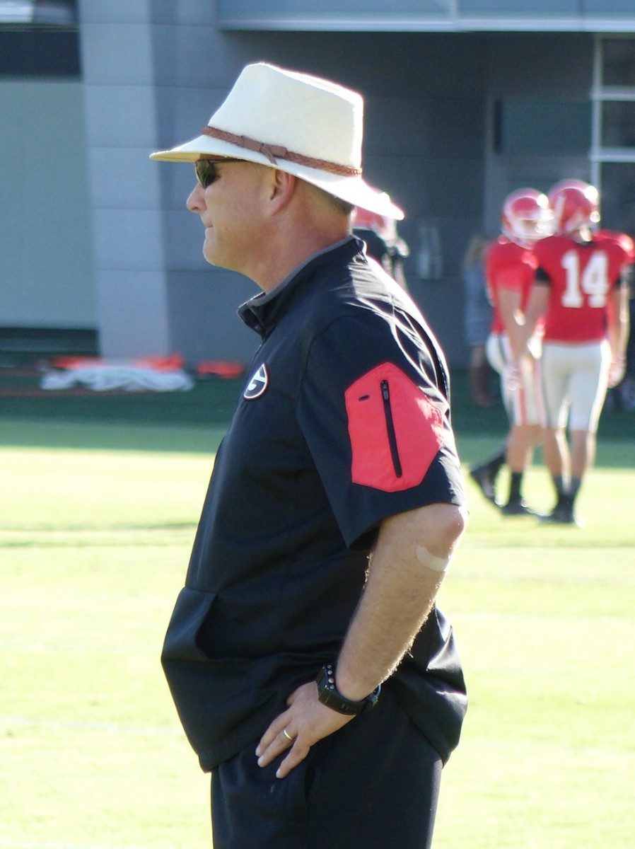 Mark Richt intently watching drills