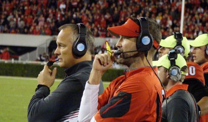 Coaches Mark Richt and Brian Schottenheimer