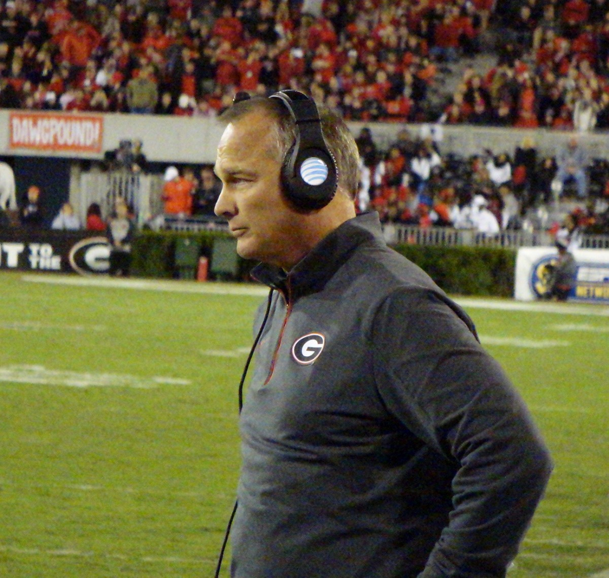 Mark Richt watches intently during the Missouri game.