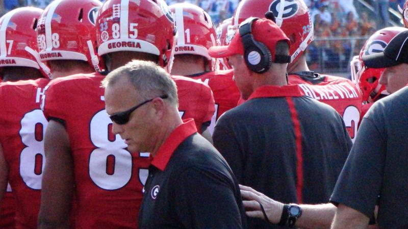 Mark Richt - 1st half Georgia-Florida game - 31-Oct-2015 (Photo by Bulldawg Illustrated's Greg Poole)