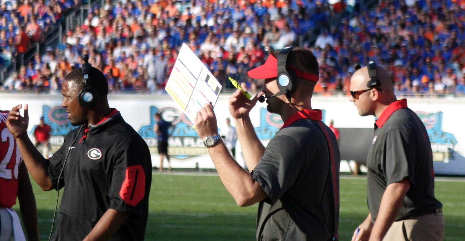 Coach Brian Schottenheimer First half of Georgia-Florida 31-Oct-2015 (Photo by Greg Poole  / Bulldawg Illustrated)