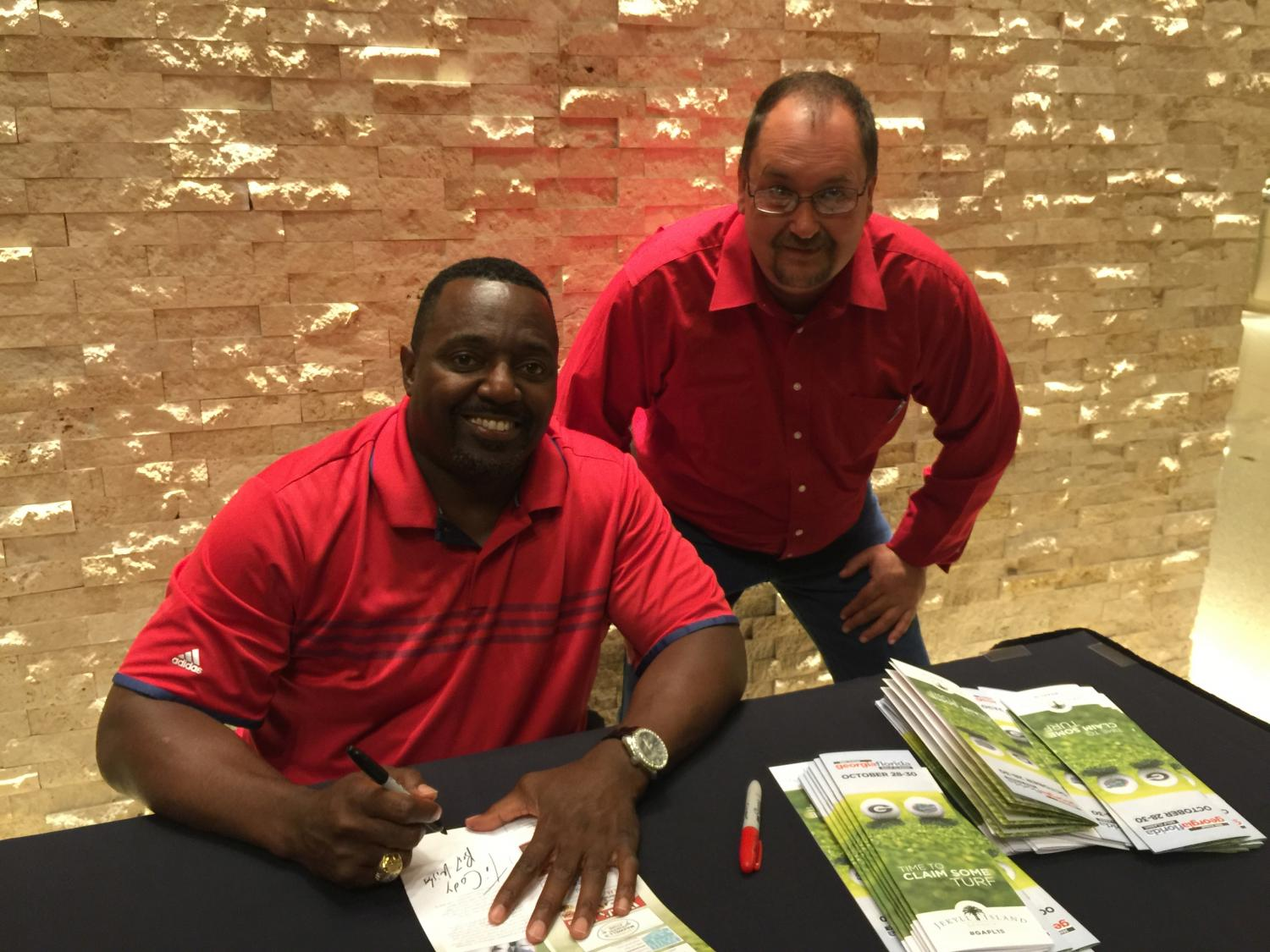 Tracy Gibson and Rodney Hampton [Georgia-Florida Golf Classic 2015] (Photo by Cheri Leavy)