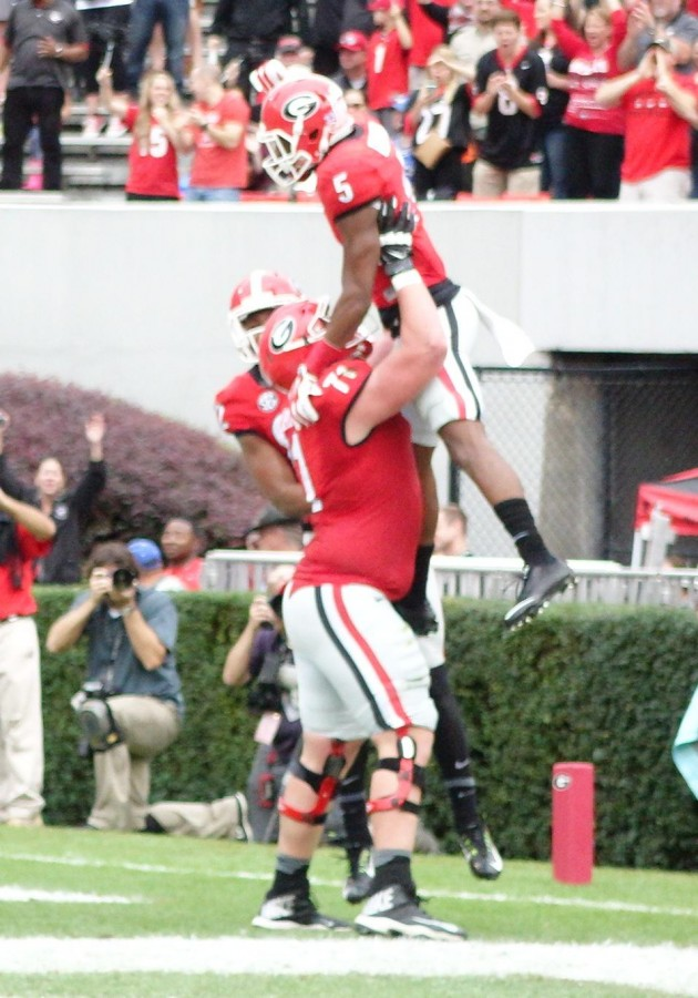 John Theus celebrates with Terry Godwin after score - first half Kentucky vs. Georgia 07-Nov-2015