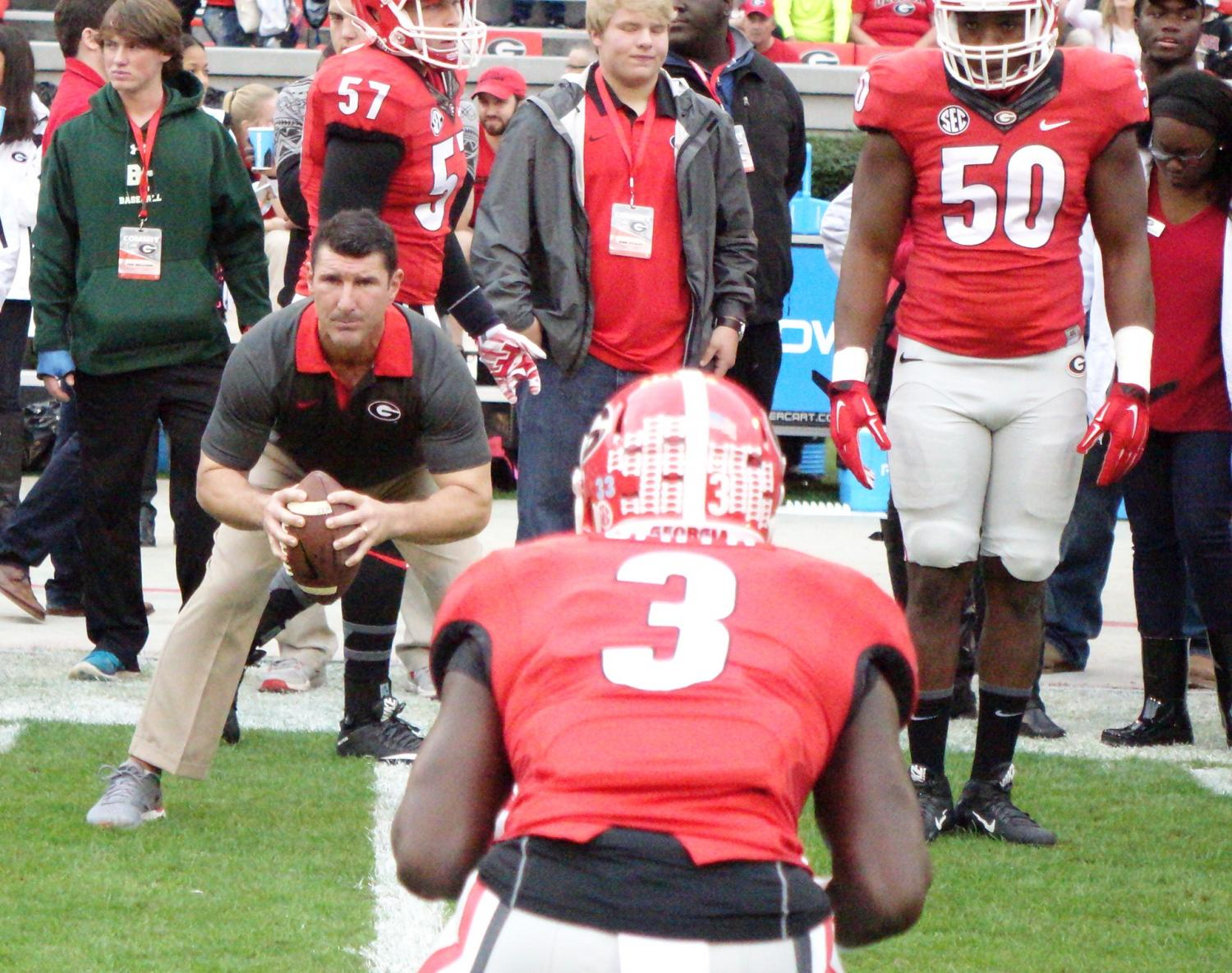 Coach Ekeler with LB Roquan Smith - Kentucky vs. Georgia pregame 07-Nov-2015 (Photo by Bulldawg Illustrated's Greg Poole)