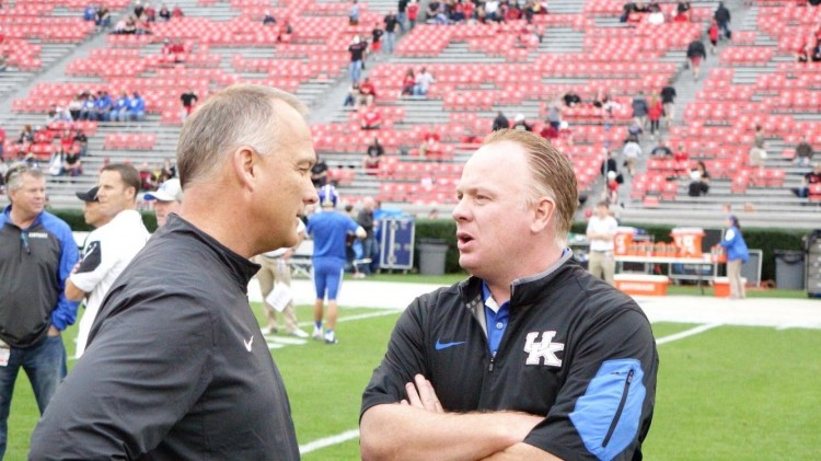 Georgia Coach Mark Richt and Kentucky Coach Mark Stoops UK vs. UGA pregame 07-Nov-2015