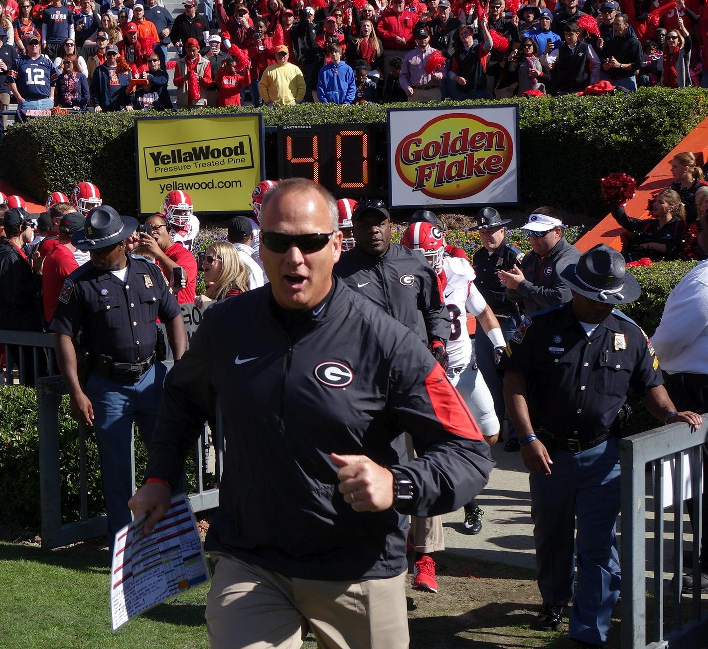Coach Mark Richt leads Georgia team out of the tunnel UGA vs. Auburn 14-Nov-2015 (Photo by Bulldawg Illustrated's Greg Poole)