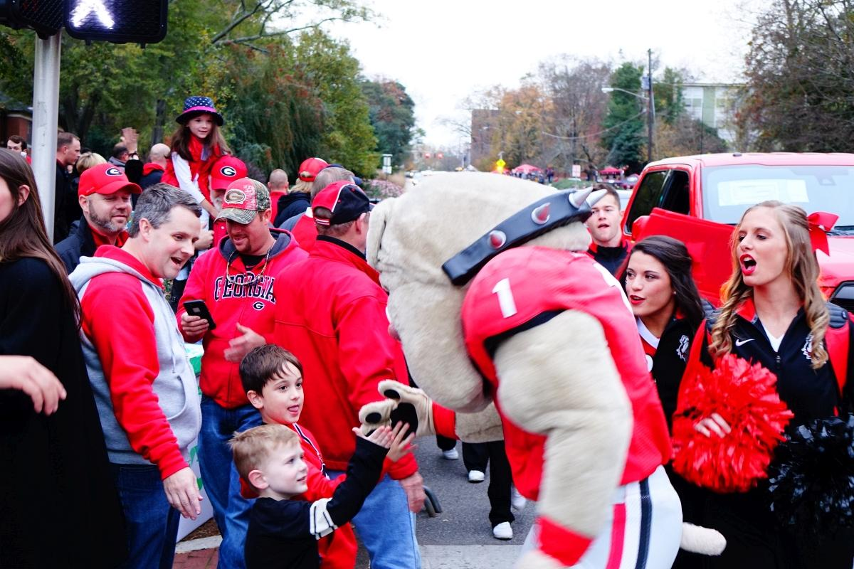 Hairy Dawg - Dawg Walk - GA Southern vs. UGA game 21-Nov-2015 (Photo by Bulldawg Illustrated's Greg Poole)