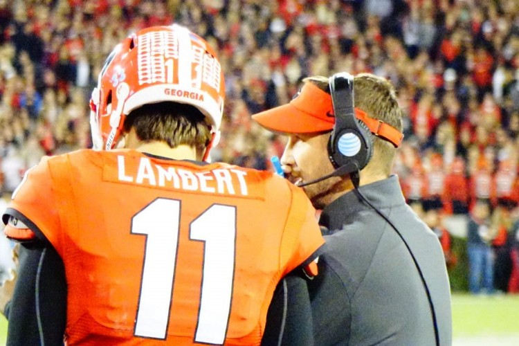 Greyson Lambert and OC Schottenheimer - 2nd half GaSouthern game 21-Nov-2015