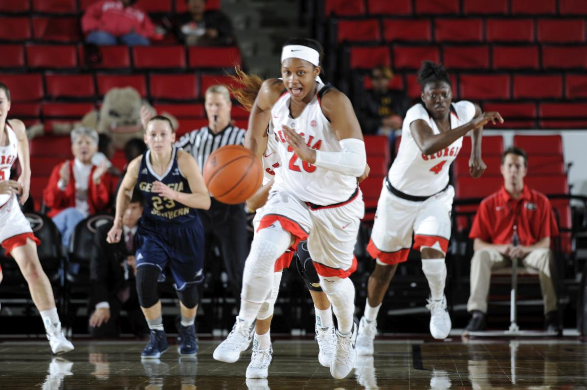 Georgia guard/forward Shacobia Barbee (20) goes for a loose ball during the Lady Bulldogs' game against the Georgia Southern Eagles at Stegeman Coliseum on Tuesday, November 24, 2015 in Athens, Ga. (Photo by John Kelley)