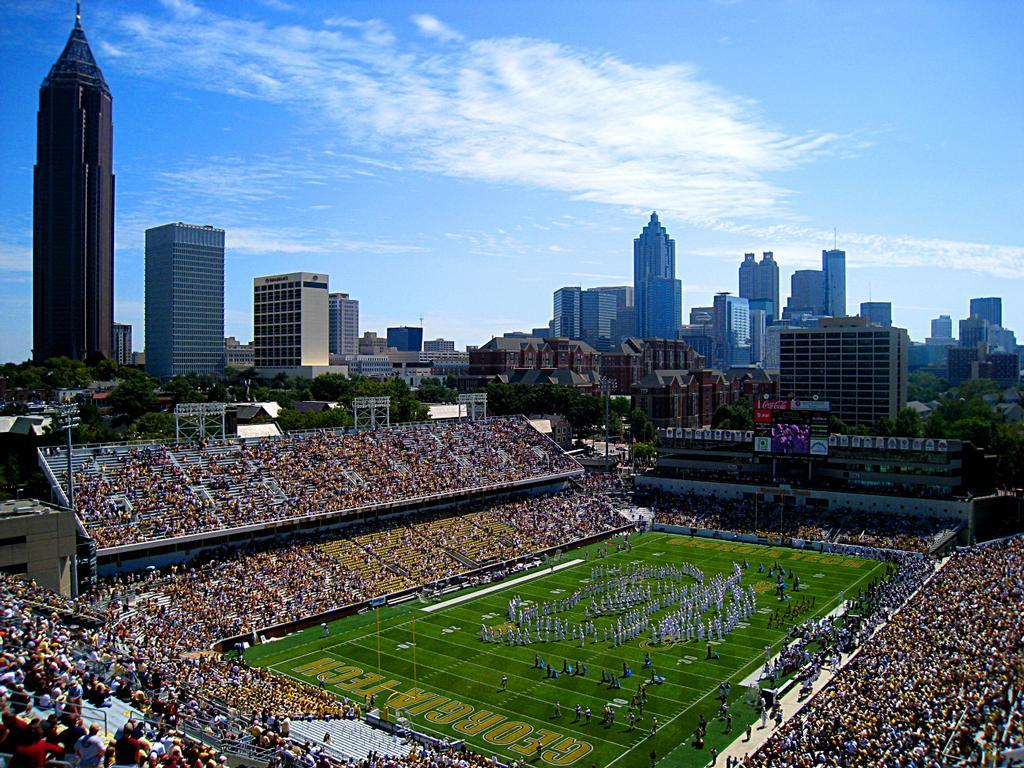Bobby Dodd Stadium at Grant Field with the Atlanta, GA skyline in background (Photo courtesy of Gatech.edu)