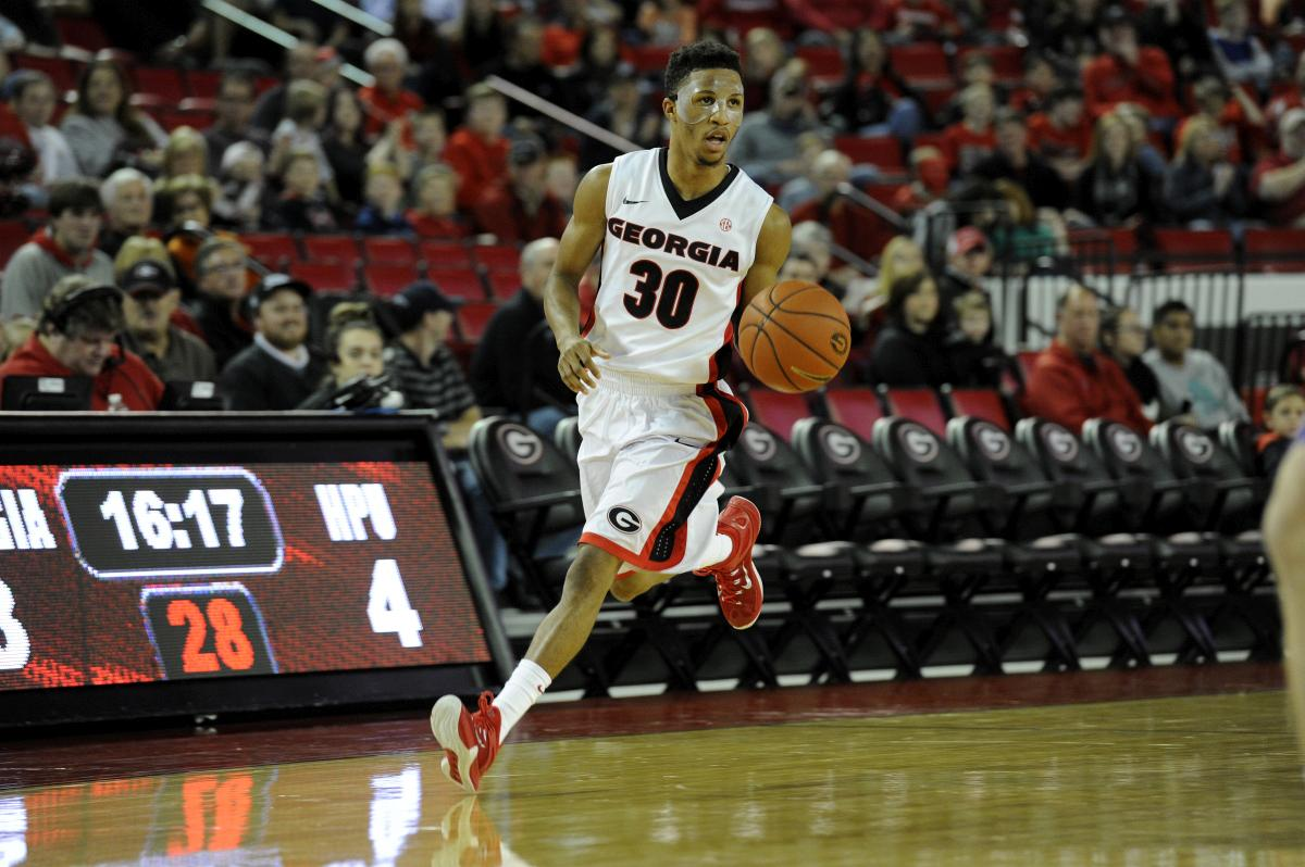 Georgia guard J. J. Frazier (30) during the Bulldogs' game against High Point at Stegeman Coliseum on Wednesday, November 25, 2015 in Athens, Ga. (Photo by John Kelley)