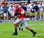 Jeb Blazevich with the catch - 2nd half of UGA vs. GT 28-Nov-2015