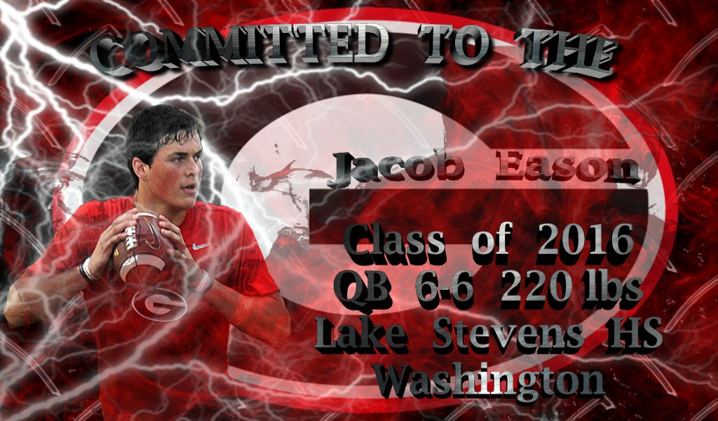Jacob Eason (Photo courtesy of @skinnyqb10 Twitter) (Graphic edit by Bob Miller)