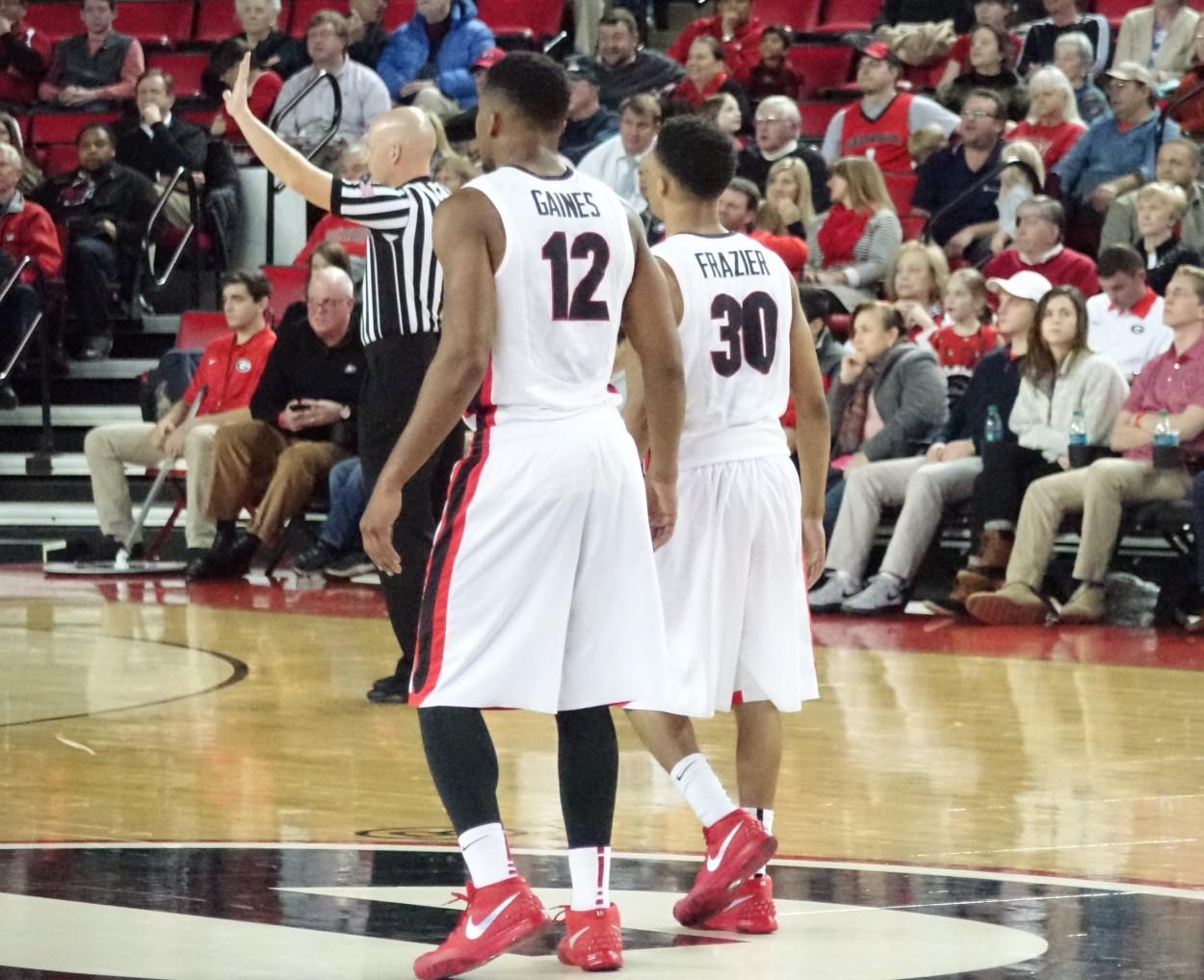 No.12 Kenny Gaines and No. 30 J.J. Fraizer Men's basketball - Missouri vs. UGA 06-JAN-2016 (Photo by Greg Poole/Bulldawg Illustrated)