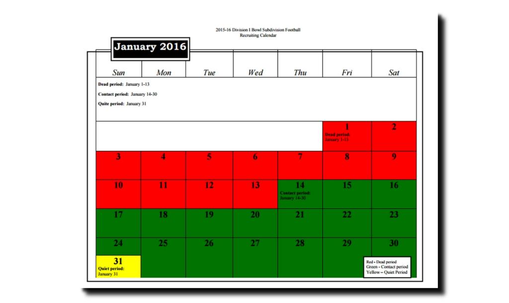 Recruiting Calendar - January 2016
