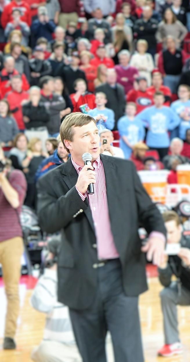 Kirby Smart at UGA vs. Arkansas basketball game 23-Jan-16