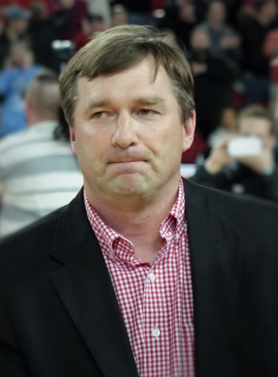 Kirby Smart at UGA vs. Arkansas basketball game 23-Jan-16