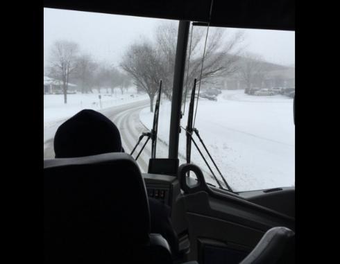 Georgia's bus arriving at McCravy Memorial