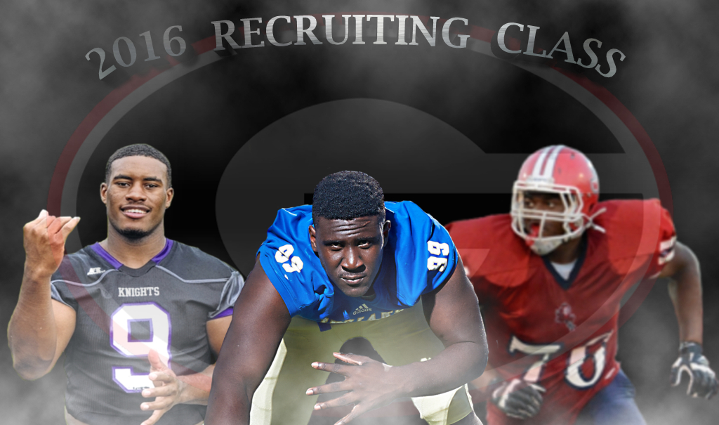 (on left) David Marshall, (middle) Julian Rochester, (on right)  Michail Carter - 2016 Recruiting Class graphic edit by Bob Miller -