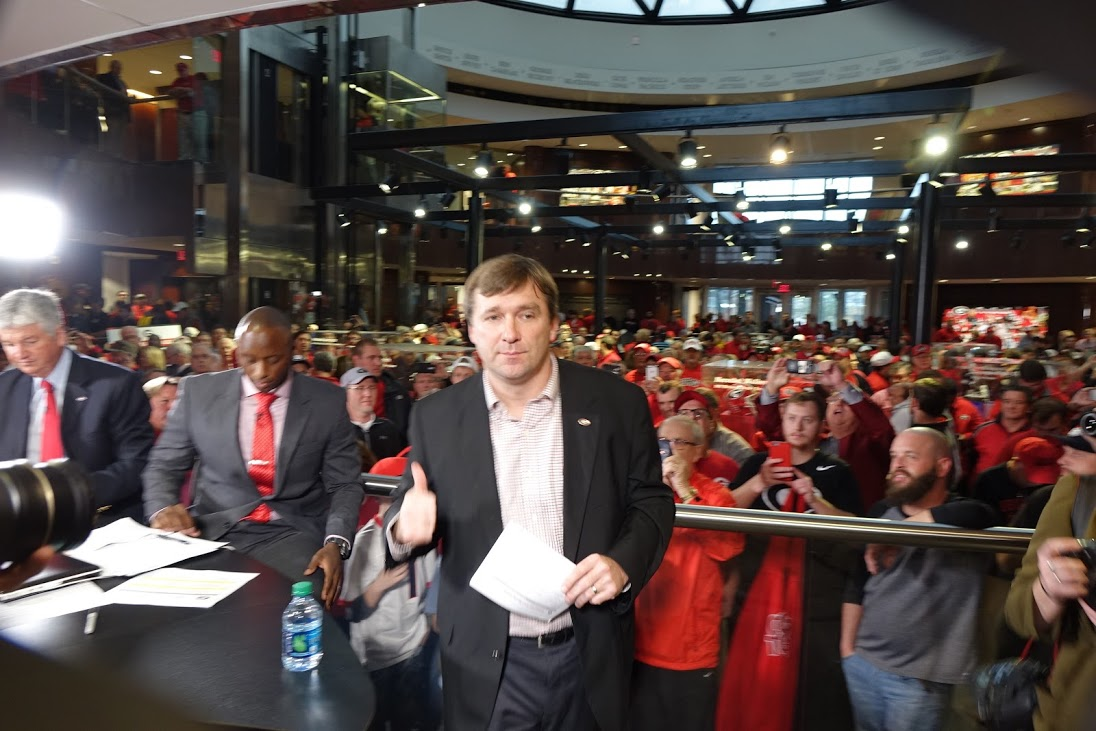 Coach Kirby Smart - gives a thumbs up - National Signing Day 2016 at Butts-Meher, Athens, GA (Photo by Bulldawg Illustrated's Greg Poole)