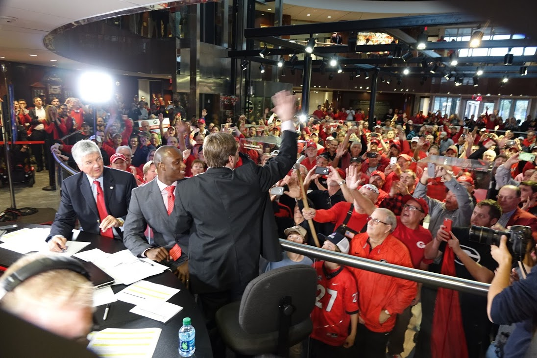Coach Kirby Smart waves to fans at Butts-Mehre, Athens, GA - National Signing Day 2016 (Photo by Bulldawg Illustrated's Greg Poole)