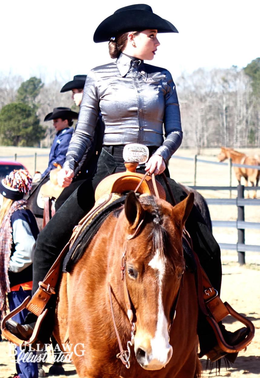 Georgia equestrian team riders and horses compete in a meet vs. Auburn.