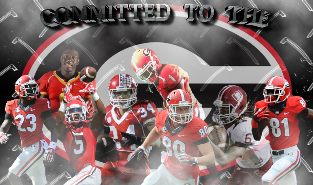 UGA WRs and WR prospects - Committed To The G edit by Bob Miller (Front Row - left to right) No.23 Shakenneth Williams, No.5 Terry Godwin, No. 80 Charlie Hegedus, No.81 Reggie Davis (Back row - left to right) 2016 Signees Cavin Riley Ridley, Charlie Woerner, Javon Wims and 2017 commit Xavier Jenkins