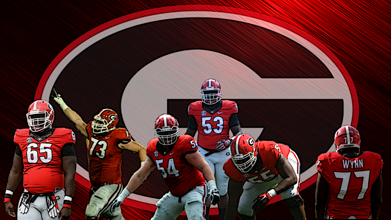 (left to right) No.65 Kendall Baker, No.73 Greg Pyke, No.54 Brandon Kublanow, No.54 Lamont Gaillard, No.55 Dyshon Sims, No.77 Isaiah Wynn (edit by Bob Miller) (photos by UGA)