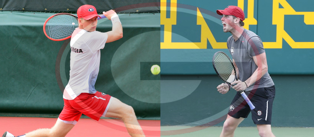 Walker Duncan (on left) and Austin Smith (on right) Georgia men's tennis team. (photos by UGA)