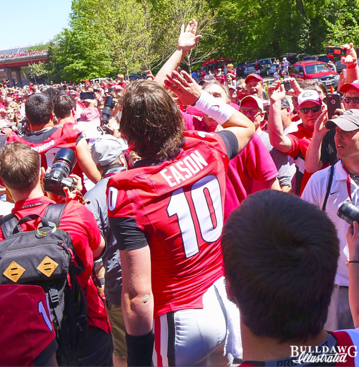 Kirby takes in the Dawg Walk
