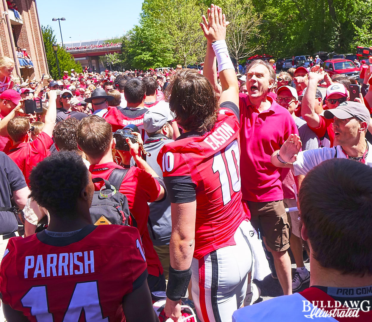 Jacob Eason was a rock star at the Dawg Walk
